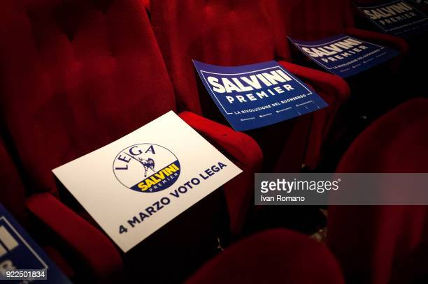 Signs block seats at a campaign event for Matteo Salvini premier candidate for the League at the San Marco Cinema on February 21 2018 in Caserta...