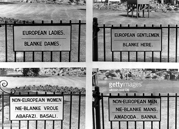 APARTHEID SIGNS 1957 Signs both English and Afrikaans in Johannesburg South Africa 1957