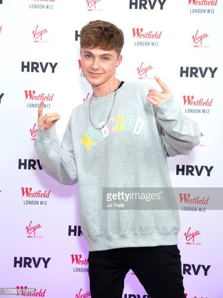 Signs copies of his new single Me Because of You and meets and Greets Fans at his Pop Up Shop at Westfield, White City on February 14, 2020 in...