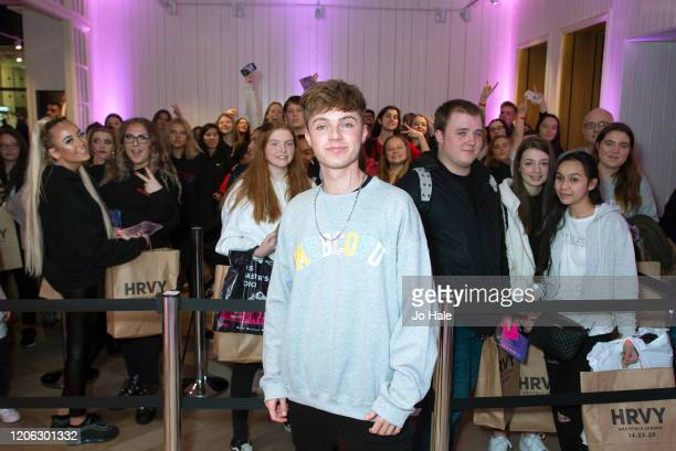 Signs copies of his new single Me Because of You and meets and Greets Fans at his Pop Up Shop at Westfield, White Cityon February 14, 2020 in London,...