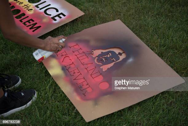 Signs depicting Philando Castile are spray painted on June 16 2017 in St Paul Minnesota Protests erupted in Minnesota after Officer Jeronimo Yanez...