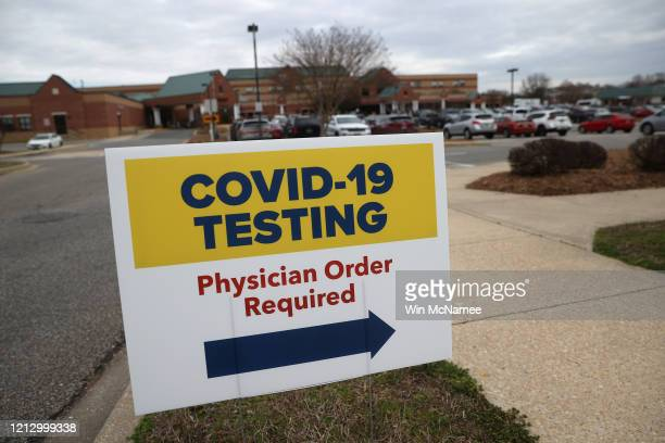 Signs directing patients to a COVID-19 virus testing drive-up location are shown outside Medstar St. Mary's Hospital on March 17, 2020 in...