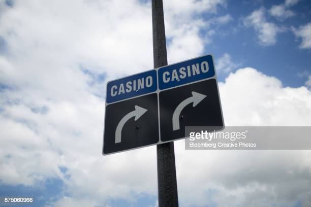 Signs directing to people to casinos