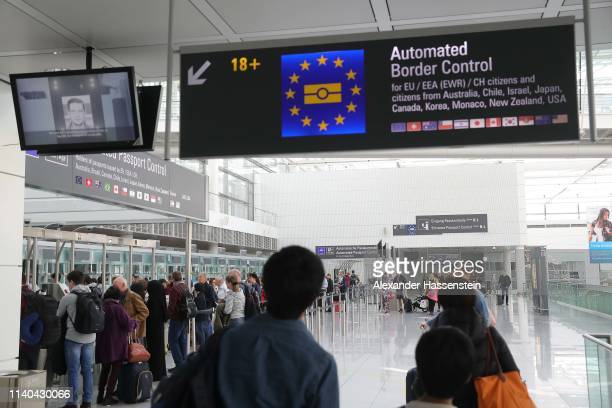 Signs for Boder Control at Airport Munich FranzJosefStrauss International on April 03 2019 in Munich Germany