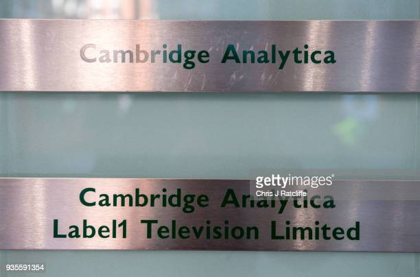 Signs for company Cambridge Analytica in the lobby of the building in which they are based on March 21 2018 in London England UK authorities are...