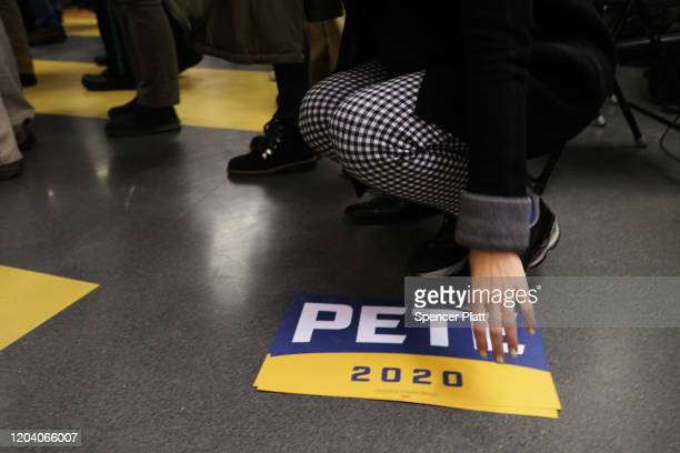 Signs for Democratic presidential candidate South Bend Indiana Mayor Pete Buttigieg are shown at a campaign event February 4 2020 in Laconia New...