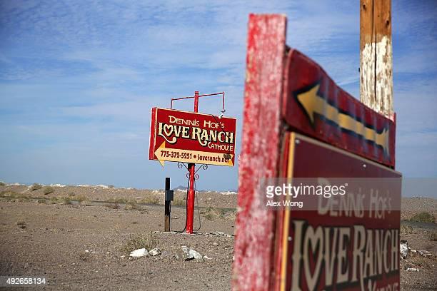 Signs for Dennis Hof's Love Ranch Las Vegas brothel are shown on October 14 2015 in Crystal Nevada Former NBA player Lamar Former NBA player Lamar...
