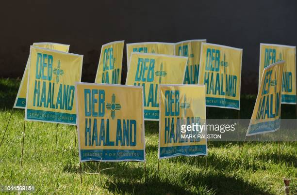Signs for Native American candidate Deb Haaland who is running for Congress in New Mexico's 1st congressional district seat for the upcoming midterm...