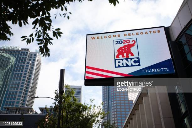 Signs for the 2020 Republican National Convention outside of the Charlotte Convention Center in Charlotte, North Carolina, on August 22, 2020. - The...