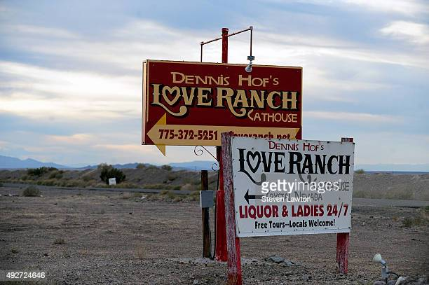 Signs for the Love Ranch Las Vegas brothel are shown on October 14 2015 in Crystal Nevada Former NBA player Lamar Odom was found unconscious during a...
