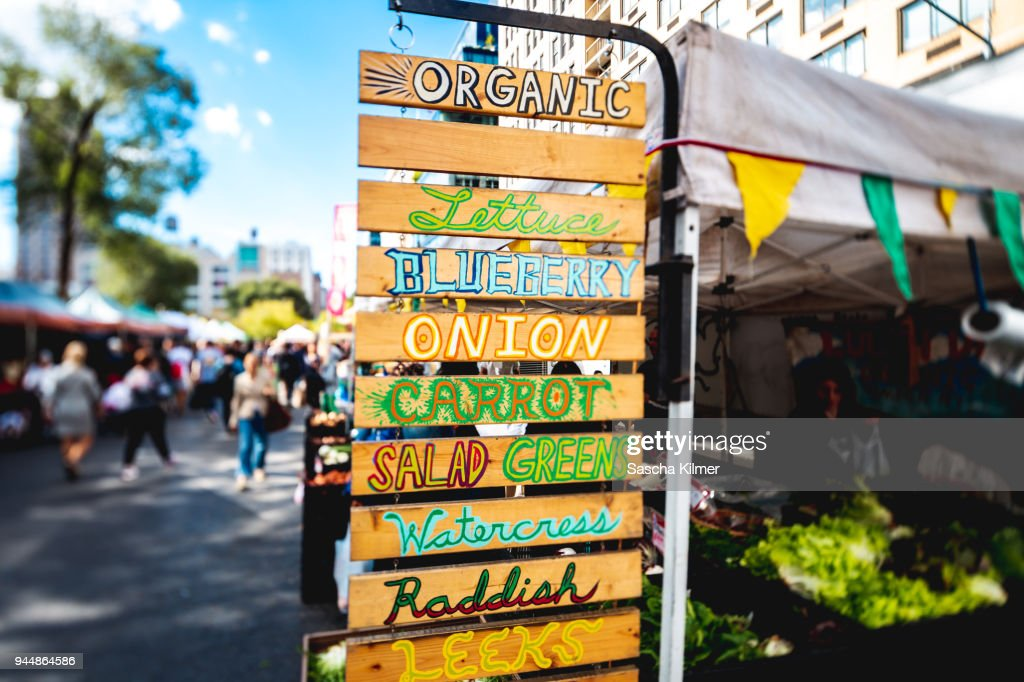 Signs for vegetables and greens for Sale : Stock Photo