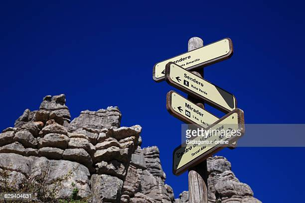 Signs in National Park El Torcal El Torcal de Antequera is a nature reserve in the Sierra del Torcal mountain range Andalusia Provinz Malaga Spain