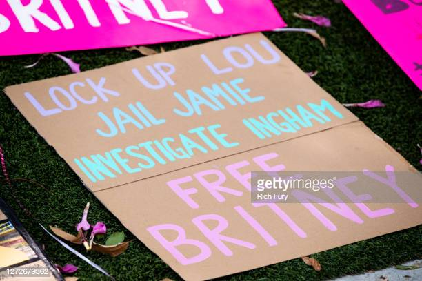 Signs in support of Britney Spears are seen during a #FreeBritney protest outside of the Tri Star Sports Entertainment Group offices on September 15...