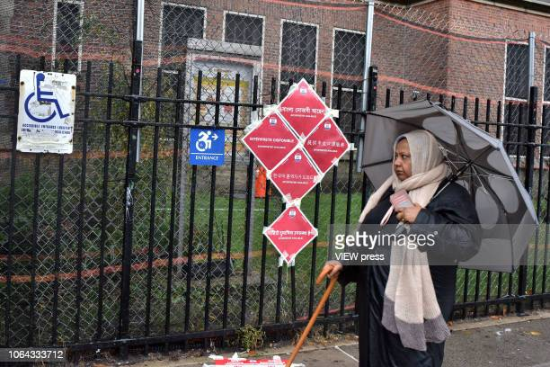 Signs indicate a polling place on Election Day at PS 69 November 06 2018 in the Jackson Heights neighborhood of the Queens borough of New York City
