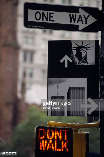 Signs near the World Trade Center Photos and captions from the book New York Creations
