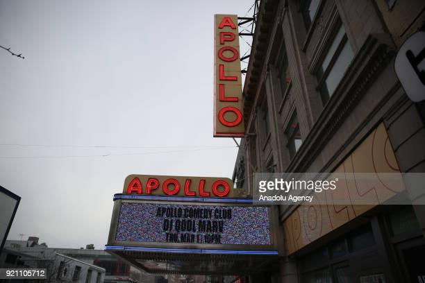 Signs of Apollo Theater are seen ahead of 53rd anniversary of Malcolm X's assassination in Harlem neighborhood of Manhattan borough in New York...