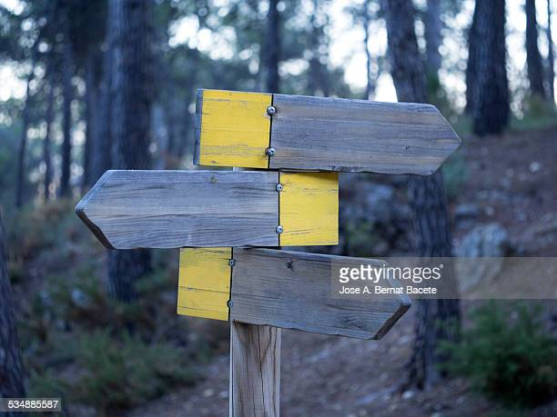 signs of arrow of wood in the mountain - double arrow stock pictures, royalty-free photos & images