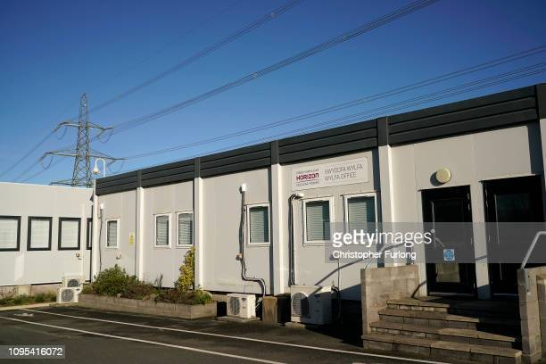Signs of Hitachi subsidiary Horizon Nuclear Power, stand outside its offices at Wylfa Anglesey on January 17, 2019 in Bangor, Wales. Hitachi has...
