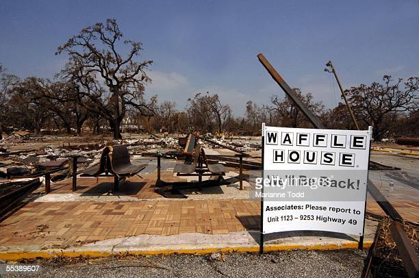 Signs of hope dot the destroyed landscape along the Mississippi Gulf Coast September 12 2005 in Biloxi Mississippi Mississippians with communities...