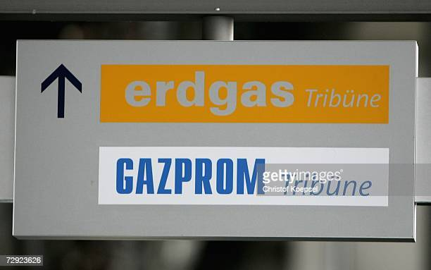 Signs of Russian Gas Supplier Gazprom of the new main sponsor of Schalke 04 are seen on January 4, 2007 in the Veltins Arena in Gelsenkirchen,...