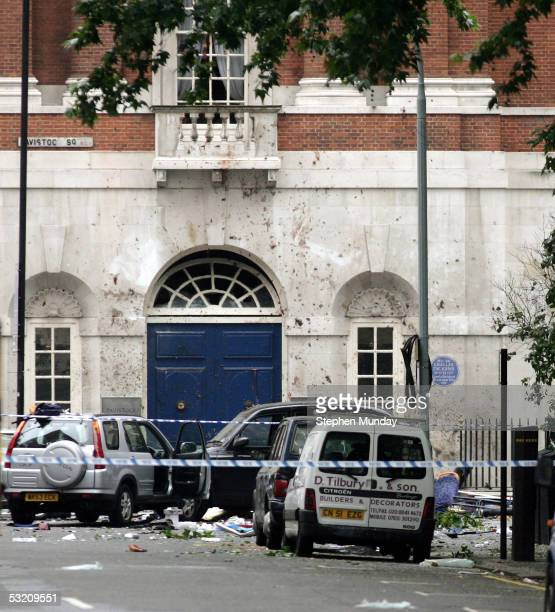 Signs of the blast are seen on the walls of surrounding buildings after an explosion on a bus in Tavistock Square on July 7 2005 in London England A...