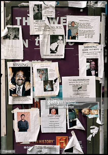Signs Of The Times - Posters of missing persons after the attacks on the World Trade Centre, New York, appear along the sidewalks as bereaved...