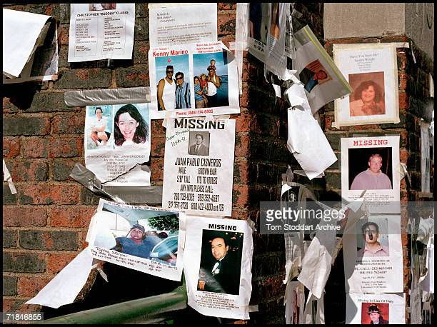 Signs Of The Times Posters of missing persons after the attacks on the World Trade Centre New York appear along the sidewalks as bereaved families...