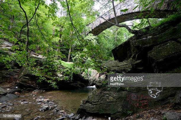 Signs of vandalisme and trash near Devils Pool in the Wissahickon Valley in Philadelphia PA on August 18 2018 Locals find the illegal swimming spot...