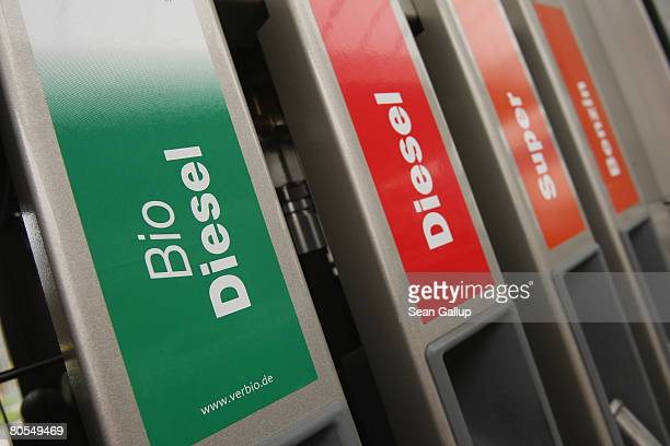 Signs on gasoline pumps show biodiesel or ethanol diesel and regular gasoline at a gas station that sells gasoline as well as biofuels on April 7...