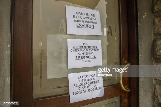 Signs on the door of pharmacy read top to bottom masks and sanitary gel are sold out for your security we ask you to enter two people at a time and...
