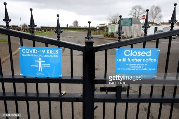 Signs on the gates of Sixmile Cemetery in Antrim warm that COVID19 can kill and that visitors must adhere to the social distancing guidelines near...