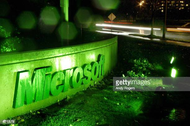 Signs on the Microsoft campus in Seattle WA are illuminated in green November14 2001 to commemorate the launch of the company's new XBox video game...