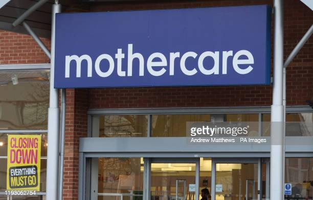 Signs outside a Mothercare store in Reading Berkshire Collapsed retailers Mothercare and Debenhams are shutting down stores for good this January...