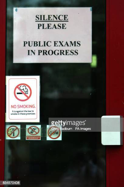 Signs outside a room where pupils were sitting a GCSE English exam at Colchester County High School for Girls Colchester Essex