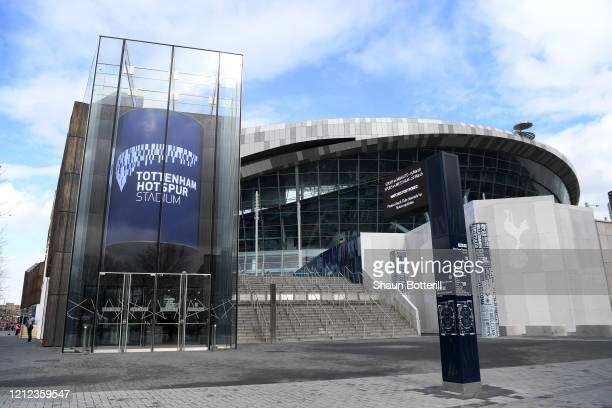 Signs outside Tottenham Hotspur Stadium show the next two matches cancelled due to the Cvid19 Virus on March 14 2020 in London England