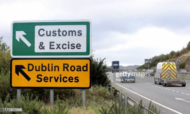 Signs point to an old customs and excise area on the Dublin road in Newry Northern Ireland on October 1 2019 on the border between Newry in Northern...