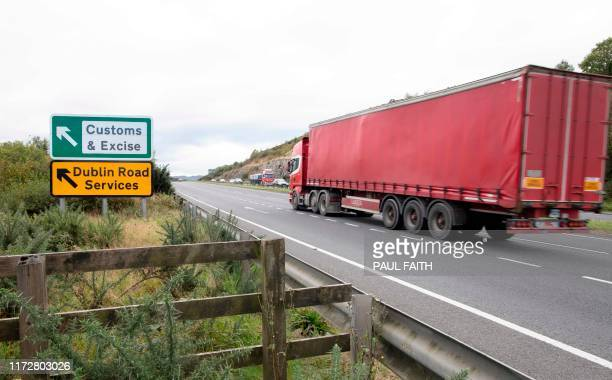 Signs point to an old customs and excise area on the Dublin road in Newry, Northern Ireland, on October 1, 2019 on the border between Newry in...