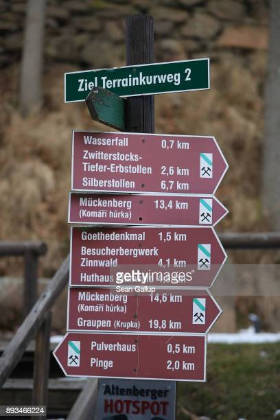 Signs point to various locations including former mines on December 13 2017 in the former mining town of Altenberg Germany Altenberg will potentially...