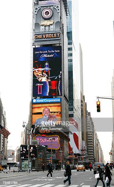 Signs promoting Rob Corddry's new show The Winner on Fox display at Times Square on March 1 2007 in New York City