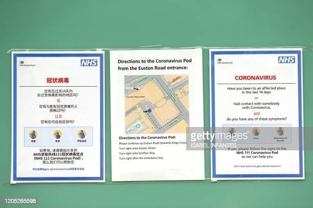Signs provide guidance information and directions for patients to an NHS 111 Coronavirus Pod testing service area for COVID19 assessment at...
