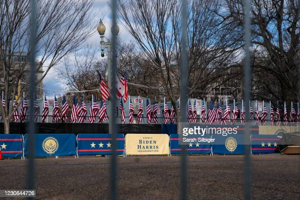 """Signs reading """"2021 Biden Harris Inauguration"""" can be seen within the expanded protective perimeter around the White House on January 17, 2021 in..."""