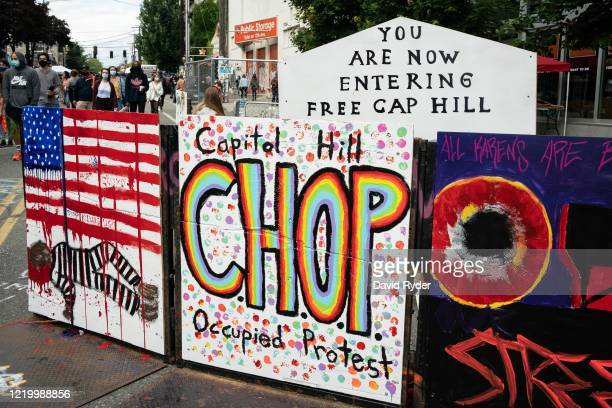 A signs reads Capitol Hill Occupied Protest in area that has been referred to by protesters by that name as well as Capitol Hill Organized Protest or...