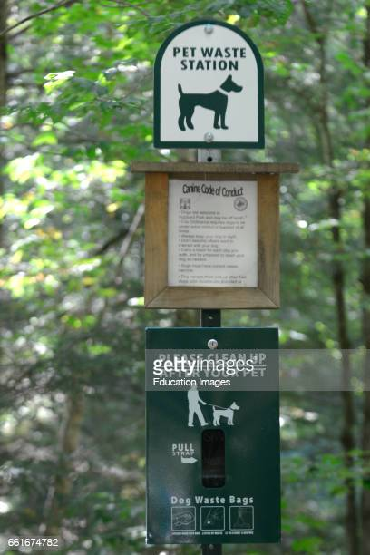 Signs show what dog owners should respect at Hubbard Park in Montpelier