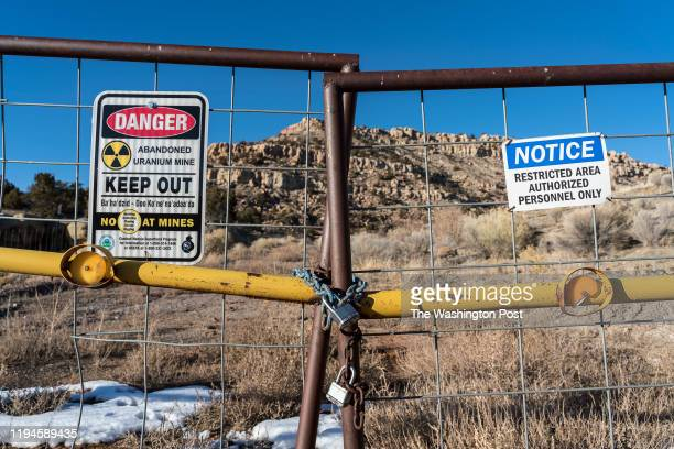 Signs warning of health risks are posted outside the gates of abandoned uranium mine in the community of Red Water Pond on Monday, Jan. 13th, 2020.