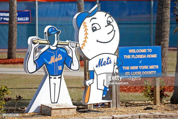 Signs welcome New York Mets fans to the back fields prior to the spring training game against the Detroit Tigers at First Data Field on March 9 2017...