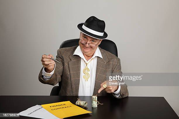 sign-up for the money - con man stock photos and pictures