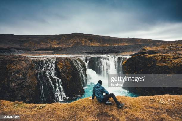 sigoldufoss in iceland - waterfall stock photos and pictures