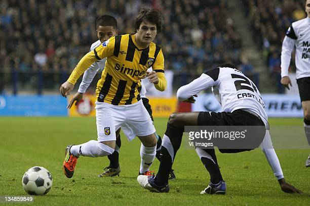 Sigourney Bandjar of RKC Waalwijk Valeri Qazaishvili of Vitesse Geoffrey Castillion of RKC Waalwijk during the Dutch Eredivisie match between Vitesse...