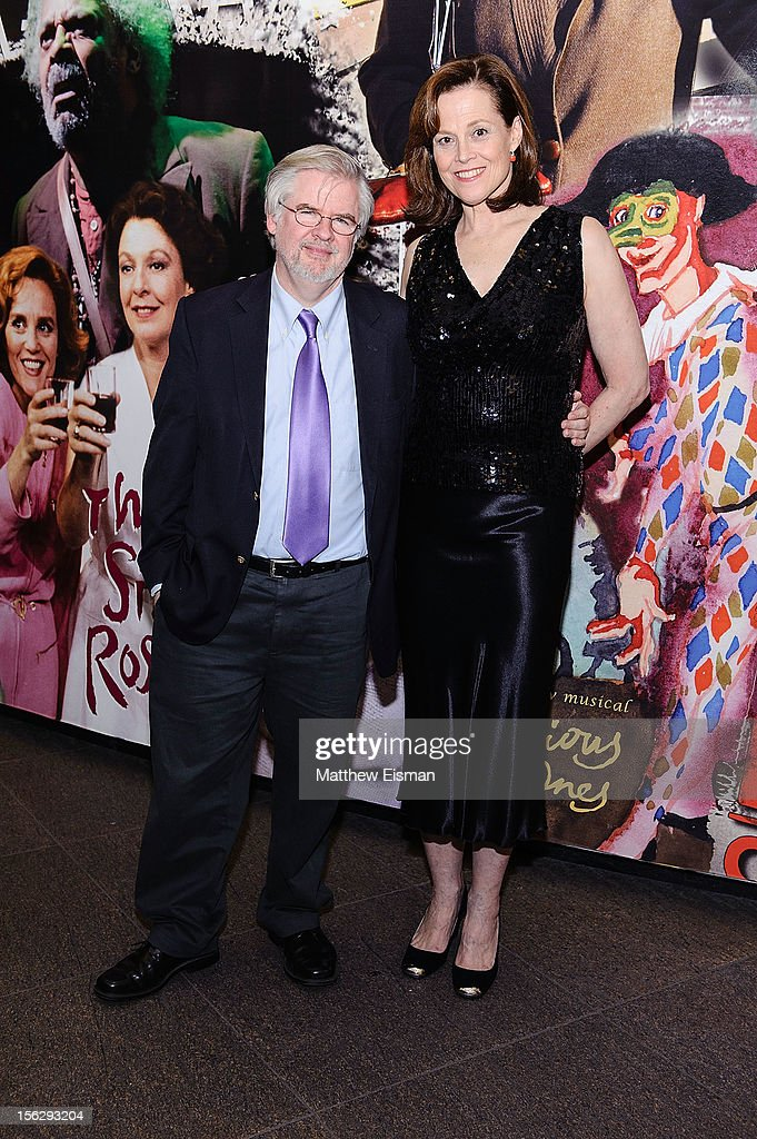 Sigourney Weaver (R) and Christopher Durang attend the opening night of 'Vanya And Sonia And Masha And Spike' at Mitzi E. Newhouse Theater on November 12, 2012 in New York City.