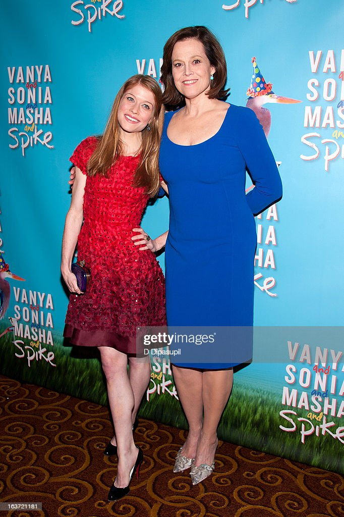 Sigourney Weaver (R) and Genevieve Angelson attend the 'Vanya And Sonia And Masha And Spike' Broadway Opening Night After Party at Gotham Hall on March 14, 2013 in New York City.